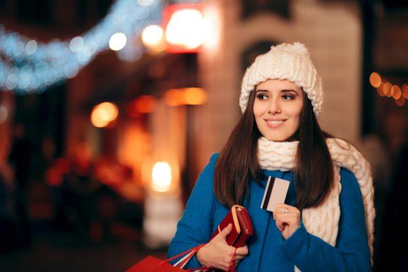 Frau Weihnachten Shopping Kreditkarte